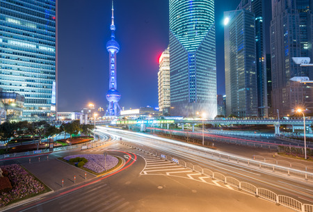 Cityscape in Shanghai at night