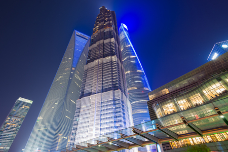 Low angle view of skyscrapers in Shanghai, China