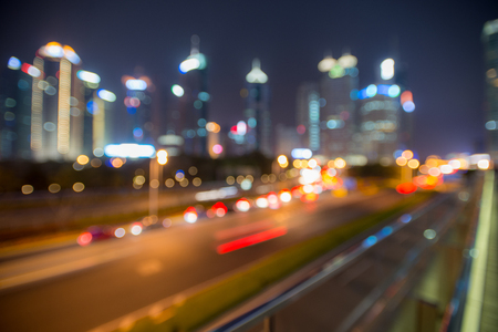 Cityscape at night with bokeh effect