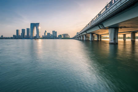View of city by a river