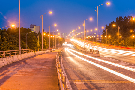 Light trails on a highway in city
