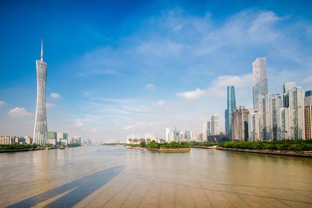 Zhujiang River and modern building in Guangzhou Central Business