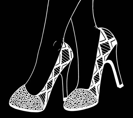 Hand drawn outline ornamental high heel shoe illustration