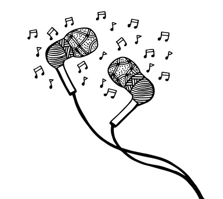 Doodle style headphones vector illustration with musical notes, hand drawing
