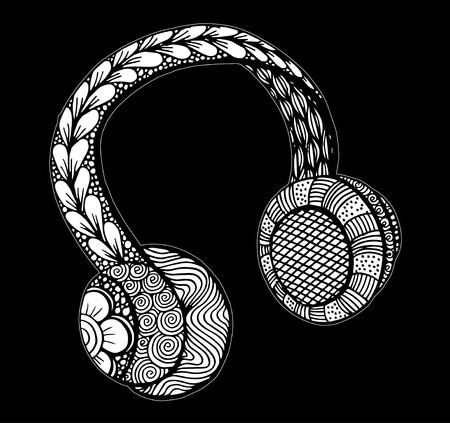 Doodle style headphones vector illustration, hand drawing Illustration