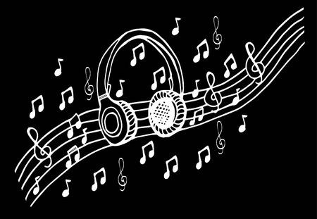 落書きスタイルのヘッドフォン ベクトル イラスト、音符で手描き