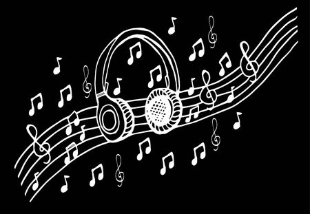 rapping: Doodle style headphones vector illustration with musical notes, hand drawing