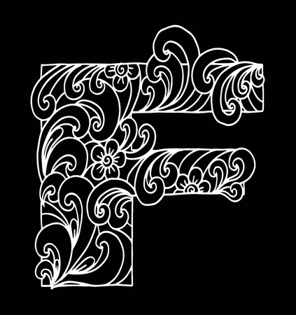 Stylized alphabet, letter F in doodle style. Hand drawn sketch font, vector illustration for coloring page, makhendas or decoration.