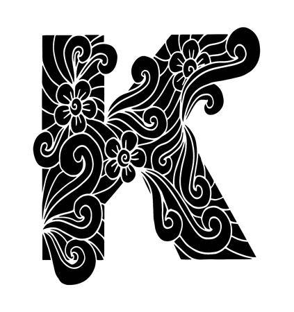 Stylized alphabet. Letter K in doodle style. Hand drawn sketch font, vector illustration for coloring page, makhendas or decoration Illustration