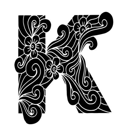 Stylized alphabet. Letter K in doodle style. Hand drawn sketch font, vector illustration for coloring page, makhendas or decoration Ilustracja