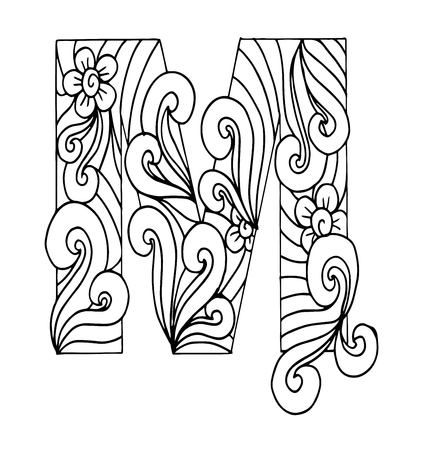 stylized alphabet. Letter M in doodle style. Hand drawn sketch font, vector illustration for coloring page, makhendas or decoration