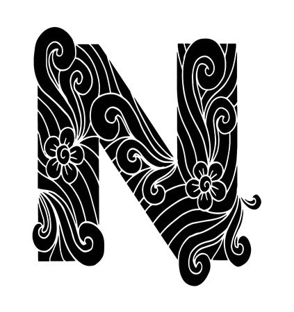 stylized alphabet. Letter N in doodle style. Hand drawn sketch font, vector illustration for coloring page, makhendas or decoration