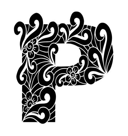 stylized alphabet. Letter P in doodle style. Hand drawn sketch font, vector illustration for coloring page, makhendas or decoration
