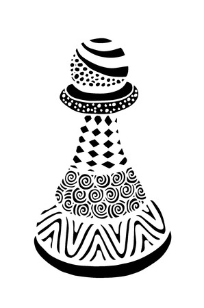 Hand drawing doodle Sketch Chess Pawn Vector Illustration.
