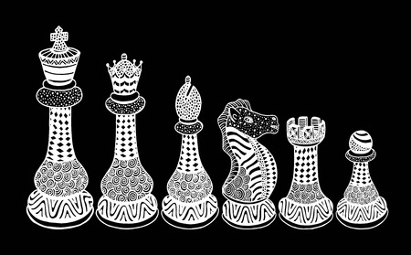 Set of Sketch Chess Figures includes King, Queen, Bishop, Knight, Rook, Pawn.