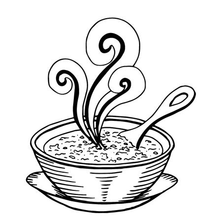 Simple hand drawn doodle of a bowl of soup Illustration