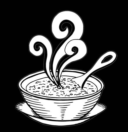 Simple hand drawn doodle of a bowl of soup 일러스트