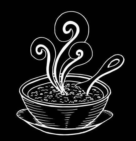 Simple hand drawn doodle of a bowl of soup Ilustracja