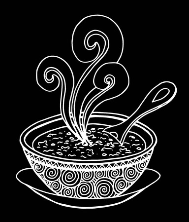 Simple hand drawn doodle of a bowl of soup Vettoriali