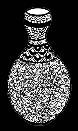 Beautiful black and white vase with floral decoration isolated