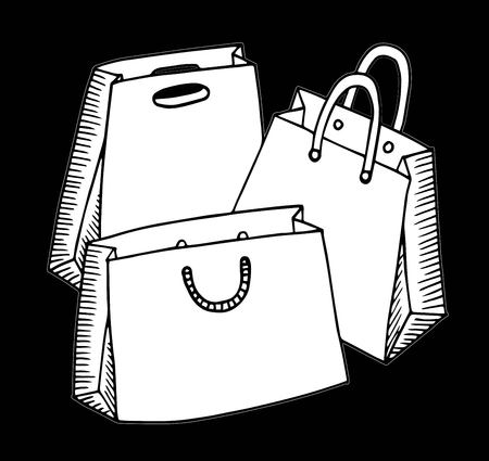 Hand drawn cartoon style shopping bags design illustration.