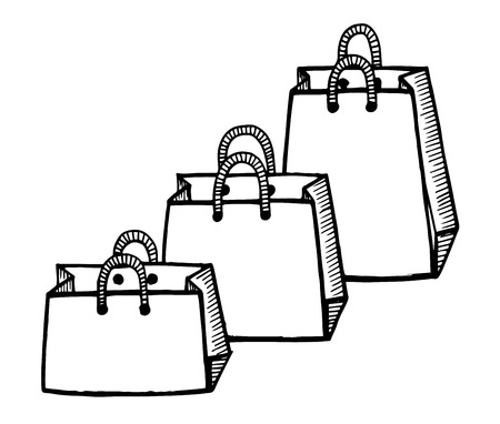 Hand drawn cartoon style shopping bags design.