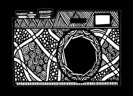 Retro photo camera in doodle style.