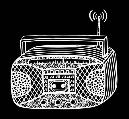 Doodle style retro radio stereo vector illustration Illustration