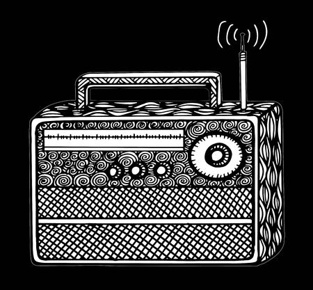Doodle style retro radio vector illustration