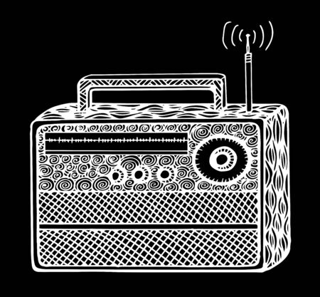 Doodle style retro radio vector illustration