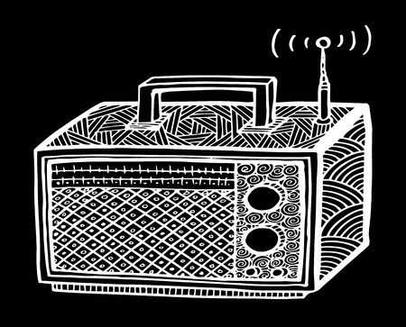 zentangle style retro radio streo vector illustration