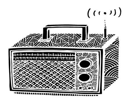zentangle style retro radio streo vector illustration