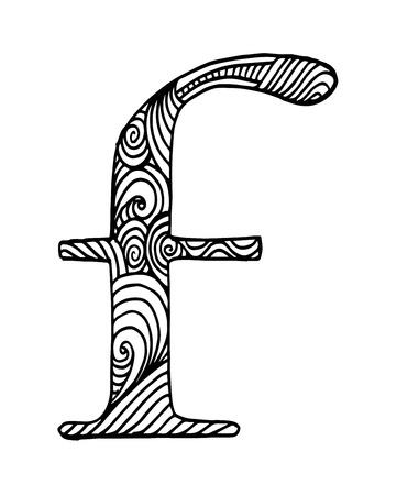 Letter f in doodle style stylized alphabet. Hand drawn sketch font, vector illustration for coloring page, makhendas or decoration. Illustration
