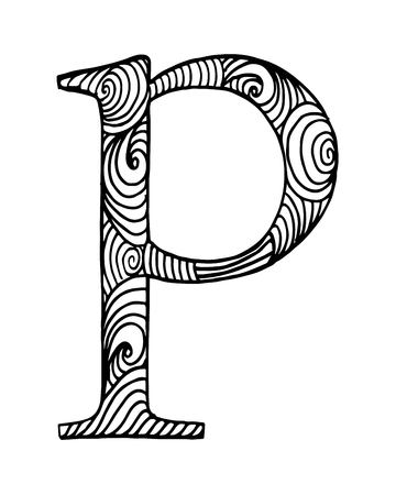 Zentangle stilisiertes Alphabet. Buchstabe p im Doodle-Stil. Übergeben Sie gezogenen Skizzenguß, Vektorillustration für Farbtonseite, makhendas oder Dekoration