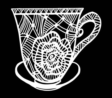Hand drawn vintage tea or coffee cup icon.