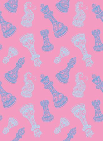 Seamless pattern with chess piece. For your design, textile, fabric, surface textures, packaging, scrapbooking, chess school or chess club. King, queen, pawn, bishop, knight and rook