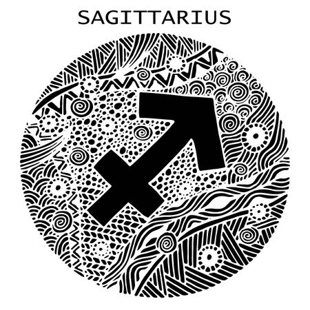Hand drawn. Zodiac sign Sagittarius. Vector illustration 写真素材 - 100519374