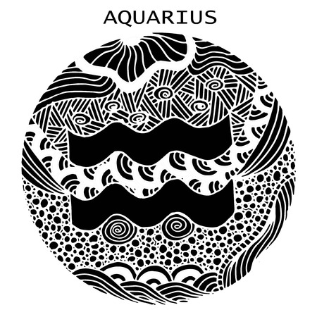 Hand drawn. Zodiac sign Aquarius. Vector illustration