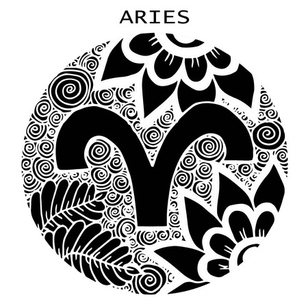 Hand drawn. Zodiac sign Aries. Vector illustration