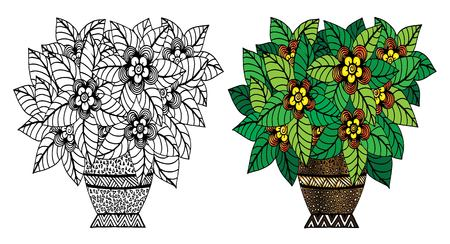 Vector doodle floral illustrated. Bouquet of flowers in a vase, hand drawing