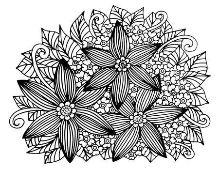 Doodle floral pattern in black and white.