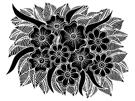 Doodle floral pattern in black and white Illustration