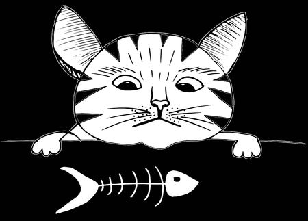 Cute cat and fish. Cartoon style, hand drawing