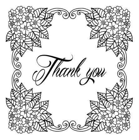 Thank you card, thanks. Vector isolated hand drawn lettering doodle floral wreath. Printable wedding card template. Modern brush pen calligraphy. Cute words and phrases