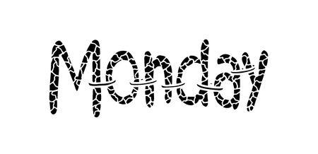 Monday text. Decorative style