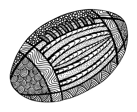Hand drawn rugby ball illustration on black and white Иллюстрация