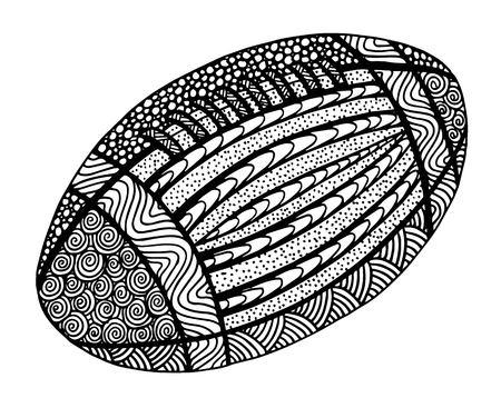 Illustration de ballon de rugby dessiné à la main sur noir et blanc Vecteurs