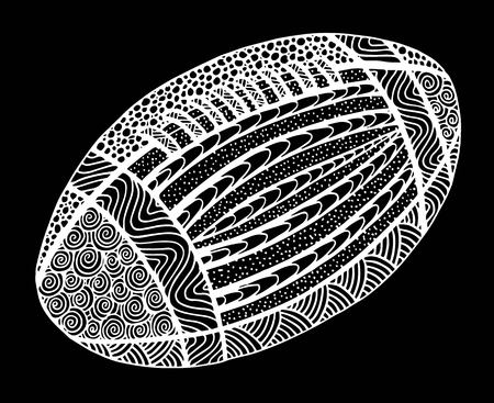 Hand drawn rugby ball illustration on black and white Ilustração
