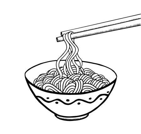 Doodle noodle at bowl and stick. hand drawing Ilustrace