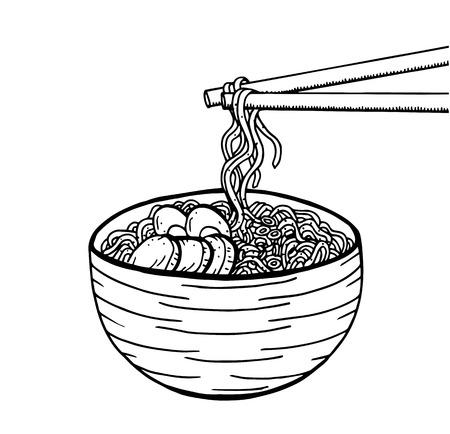 Hand drawn Japanese food sketch Illustration. Retro style. Sushi bar. Miso soup. Ramen